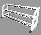 Стойка для хранения профессиональных гантелей на 15 пар трехярусная MB 1.19  (MB Barbell)