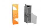 Шкаф двухсекционный, деление секций - по диагонали. Дверцы с декоративным зеркалом (одно зеркало) 400х500х2100 meb05