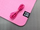 Мат для йоги 6 мм двухслойный розовый-серый