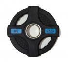 Диск олимпийский обрезиненный черный с двумя хватами 2,5 кг